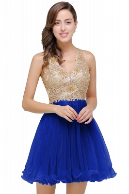 Cheap Short Tulle A-line V-Neck Appliques Sleeveless Prom Dress in Stock_2