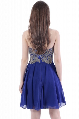 Cheap Lace Chiffon Applique Short Prom Dress in Stock_3