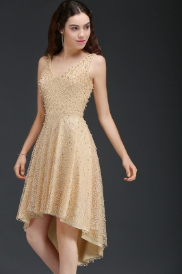 A-line Hi-Lo Popular Homecoming Dress With Pearls_4