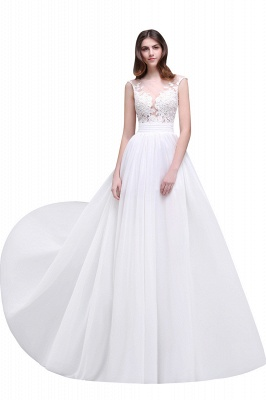 Cheap Elegant White Sheer Lace Chiffon Beach Wedding Dress in Stock_1