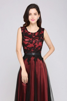 Cheap Pretty Sleeveless Black Lace Tulle Floor Length Formal Evening Dress with Sash in Stock_6