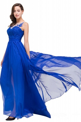 A-line Scoop-Neck Floor-length Sleeveless Chiffon Prom Dresses with Appliques_7