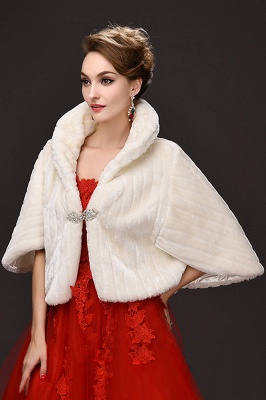 Elegant Warm Tulle  Ivory Half-Sleeves Casual Wraps with Crystal_5