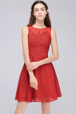 A-line Short Chiffon Red Homecoming Dresses with Lace Appliques_7