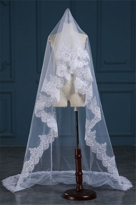 Luxury Tulle Lace Applique Edge 3*1.5M Wedding Gloves with Sequined