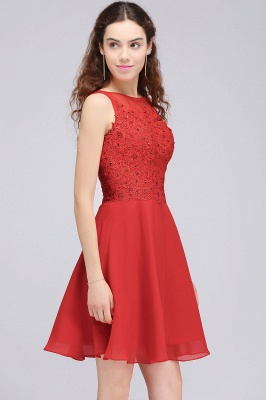 A-line Short Chiffon Red Homecoming Dresses with Lace Appliques_6