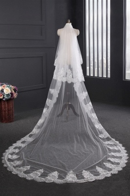 Cathedral Tulle Scalloped Edge 3*1.5M Wedding Gloves with Appliques_1