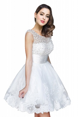 A-line Jewel Tulle Party Dress With  Beading_1
