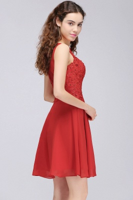 A-line Short Chiffon Red Homecoming Dresses with Lace Appliques_4
