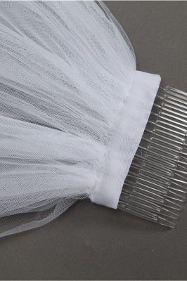 Elegant Cathedral Tulle Scalloped Edge 3*1.8M Wedding Gloves with Appliques_5