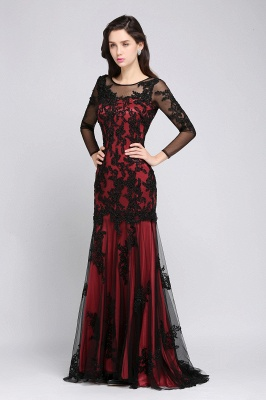 Mermaid Jewel Neck Long Tulle Red Sexy Evening Dresses with Beading_4