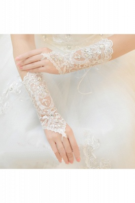 Lace Fingerless Elbow Length Wedding Gloves with Appliques_5