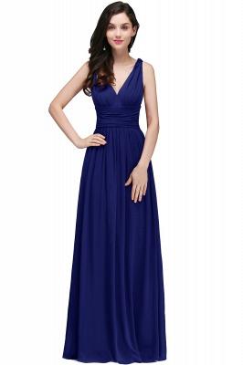 V-Neck Burgundy Ruched  A-line Evening Dresses_3
