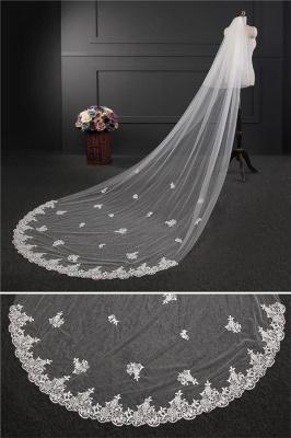Elegant Lace Applique Edge Wedding Gloves with Appliques_4