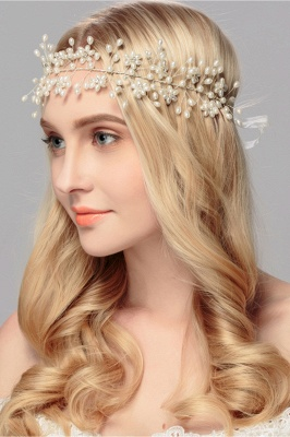 Beautiful Alloy &Imitation Pearls Party Headbands Headpiece with Rhinestone_5