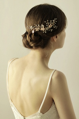 Beautiful Alloy&Rhinestone Wedding Combs-Barrettes Headpiece with Imitation Pearls_5