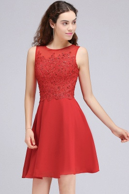 A-line Short Chiffon Red Homecoming Dresses with Lace Appliques_5