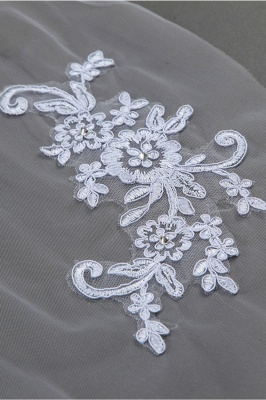 Floral Cute Tulle Cut Edge 1.5*1.5M Wedding Gloves with Appliques Sequined_5