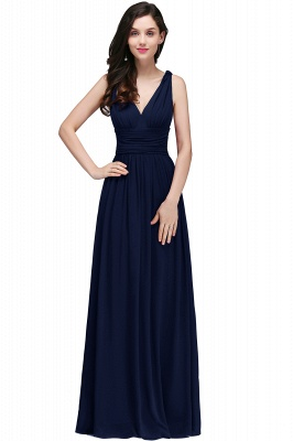 V-Neck Burgundy Ruched  A-line Evening Dresses_6