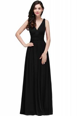 V-Neck Burgundy Ruched  A-line Evening Dresses_5