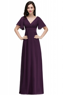 COLETTE | A-line Floor-length Chiffon Burgundy Prom Dress with Soft Pleats_2