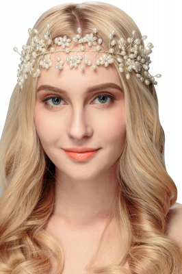 Beautiful Alloy &Imitation Pearls Party Headbands Headpiece with Rhinestone_3