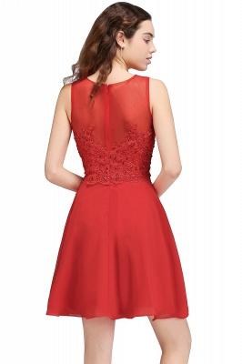 A-line Short Chiffon Red Homecoming Dresses with Lace Appliques_3