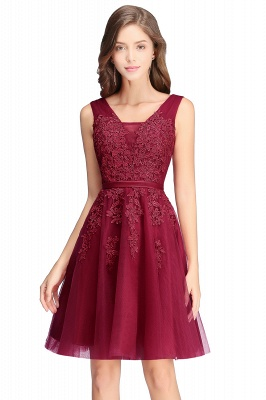 Cheap A-line Knee-length Tulle Prom Dress with Appliques in Stock_10