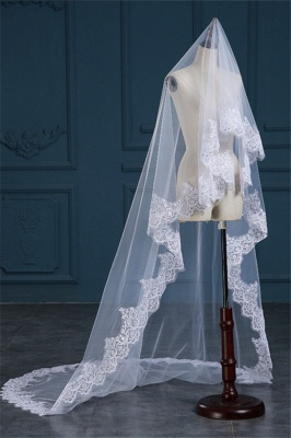 Luxury Tulle Lace Applique Edge 3*1.5M Wedding Gloves with Sequined_3