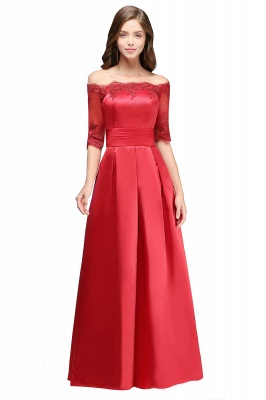 ELLISON | A-line Half Sleeve Floor-length Off-shoulder Appliques Prom Dresses_12
