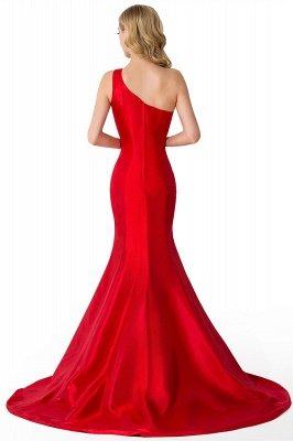 Mermaid One Shoulder Satin Long Affordable Evening Dress_10