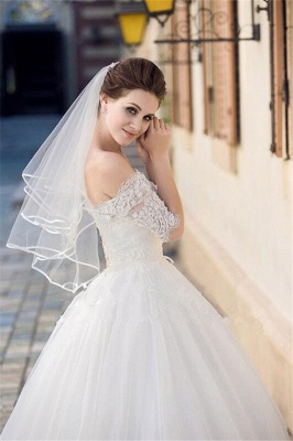 Floral Cute Tulle Lace Pencil Edge Wedding Gloves with Comb_1