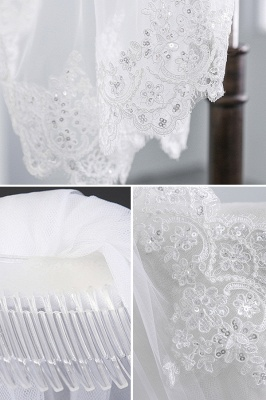 Cute Tulle Lace Scalloped Edge 1.5*1.45M Wedding Gloves with Appliques Sequined_5