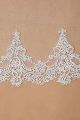 Floral Elegant Tulle  Lace Applique Edge 3*1.5M Wedding Gloves with Comb_5