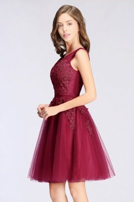 Cheap A-line Knee-length Tulle Prom Dress with Appliques in Stock_11