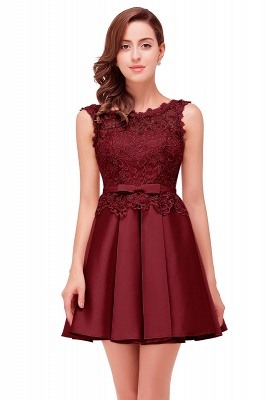 Cheap A-line Knee-length Satin Homecoming Dress with Lace in Stock_4