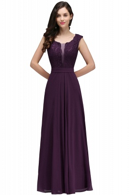 Cheap Elegant Lace A-line Long Burgundy Prom Dress in Stock_2