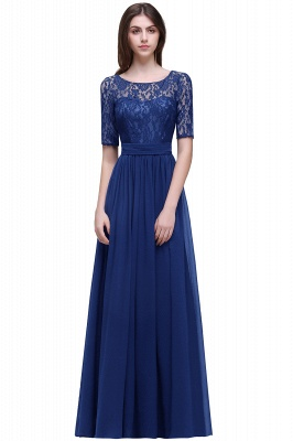 Cheap Half-Sleeve Lace Long Chiffon Evening Dress in Stock_5