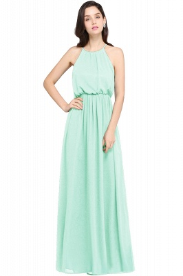 Dark Navy Halter Chiffon Sleeveless Bridesmaid Dresses | Cheap Wedding Guest Dresses_10