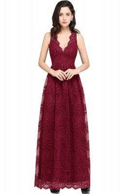 CHAYA | Sheath V-neck Floor-length Navy Blue Lace Prom Dress_2
