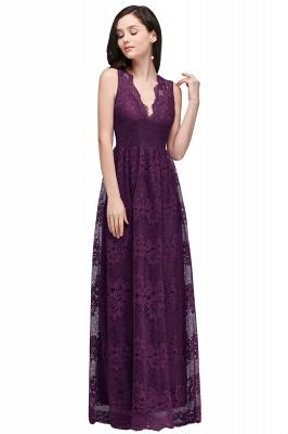 CHAYA | Sheath V-neck Floor-length Navy Blue Lace Prom Dress_3