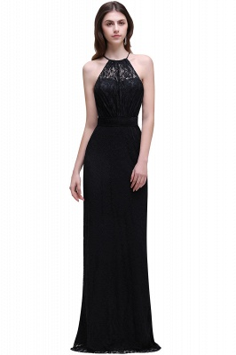 Cheap Pretty Floor length Navy blue Halter Lace Prom Dress in Stock_4
