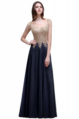 Cheap Elegant Sheer Lace Applique Chiffon Floor Length Long Evening Dress in Stock_2