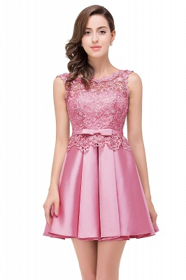 Cheap A-line Knee-length Satin Homecoming Dress with Lace in Stock_3