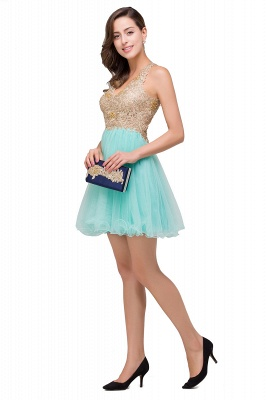 Cheap Short Tulle A-line V-Neck Appliques Sleeveless Prom Dress in Stock_7
