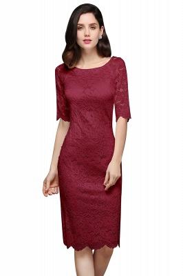 Lace Sleeve Short Knee-length Fashion Ivory Jewel Evening Dresses_2