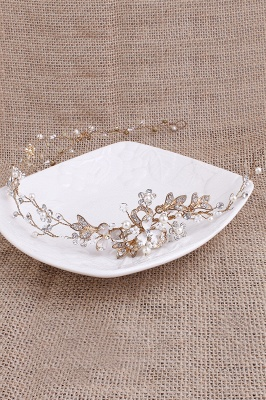 Beautiful Alloy &Imitation Pearls Special Occasion Hairpins Headpiece with Rhinestone_7
