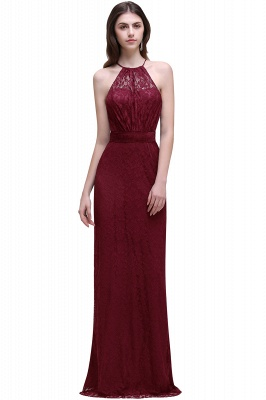 Cheap Pretty Floor length Navy blue Halter Lace Prom Dress in Stock_1