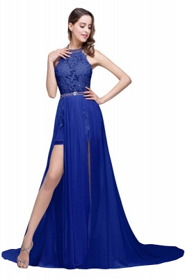 ADELE | A-line Halter Chiffon Lace Evening Dress_5