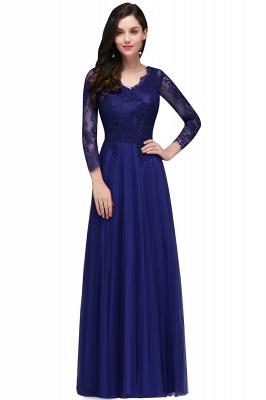 Long-Sleeves A-line Burgundy V-Neck Floor-Length Prom Dresses_1